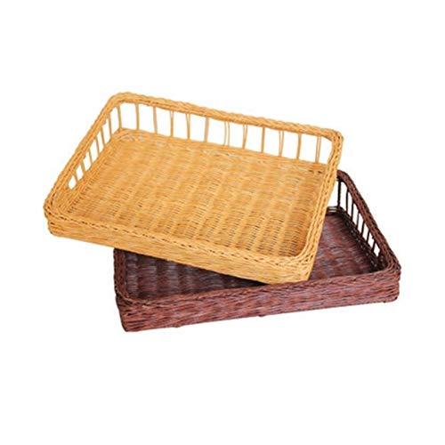 Shtsh Almacenar y organizar Azules, cestas de Pan, Frutas de ratán, cestas de bambú, Productos de supermercados, Verduras, (Color : Natural, Size : C-33cm)