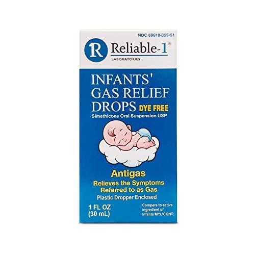 Reliable-1 Laboratories Infants Gas Relief Drops (1 FL OZ) Relieves Gas Symptoms - Antigas Liquid with Dropper (1 Pack)