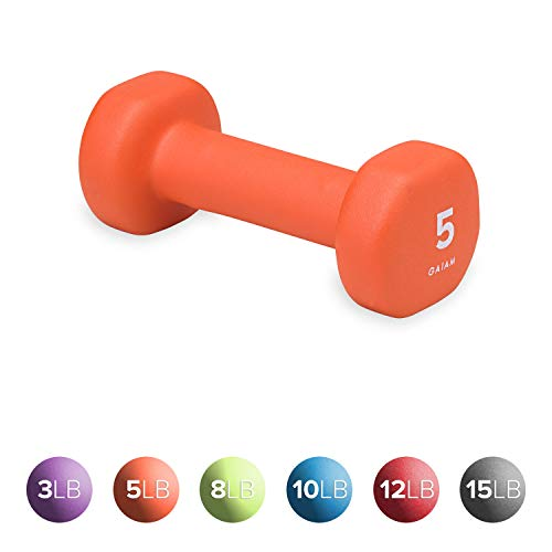 Gaiam Neoprene Dumbbell Hand Weight, Orange, 5 lb (Sold as Single Dumbbell)