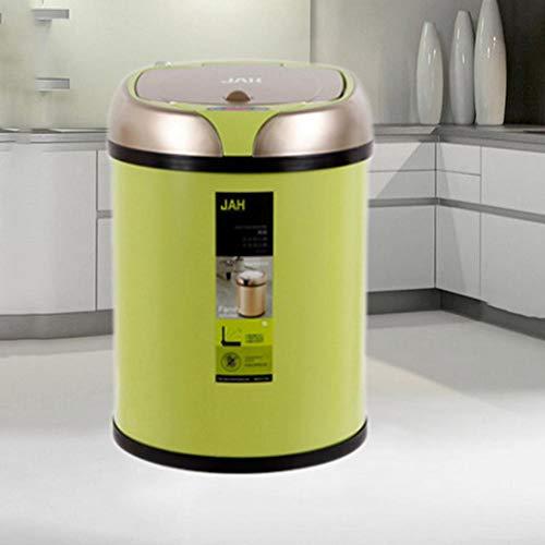 Ingeniously Automatischer intelligenter Sensor-Abfalleimer Multifunktionale aufladbare runde Aluminiumlegierungs-Sensor-Abfalleimer-Küche für Innenministerium-Badezimmer-Abfalleimer - Grün
