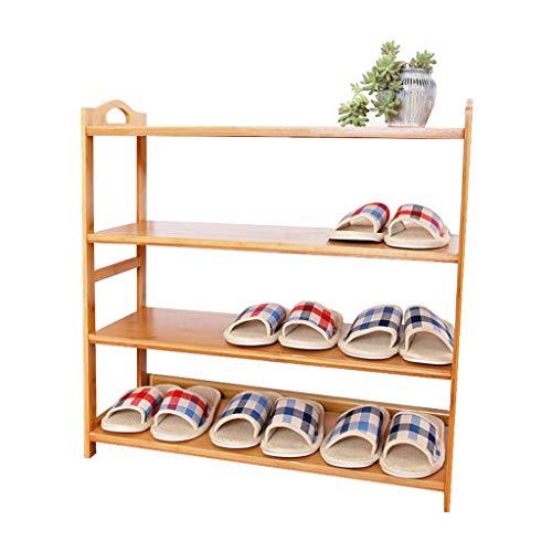 ZZYE Zapatero Rack de zapatos de bambú 4 Organizador de nivel Estantes de madera Pasillo de madera Torre de almacenamiento de casas apilable Estante de pie Polvo a prueba de polvo (50 cm, 60 cm, 68 cm
