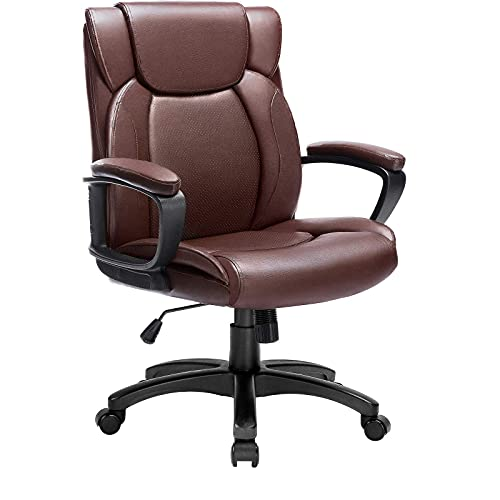 BOSSIN Executive Office Managerial Chair Leather Computer Desk Chairs with Armrest,Mid Back Swivel Ergonomic Task Chair with Lumbar Support,Thick Padded Rolling Chair for Adults (Brown)