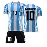 Maglia Da Calcio Retrò Da Uomo, Kit Di Magliette Commemorative Dell'Argentina 1986, Abbigliamento Da Allenamento Classico Maradona N. 10 Traspirante, Maglia Da Calcio Per Bambini (S,Without socks)