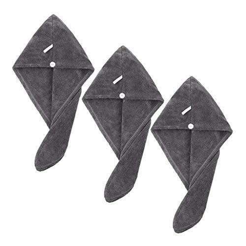 AOIWE Mkwlbfcz Microfibra Pelo Turbante Toalla Envoltura Absorbente Suave Ducha Cabezal Toalla de Secado rápido Toalla de Secado mágico Envoltura para Mujeres niñas 3 Piezas (Color : Dark Grey)
