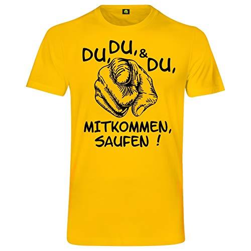 Du Mitkommen Saufen T-Shirt   Alkohol   Bier   Freunde   Party   Wodka   Vodka Gelb M