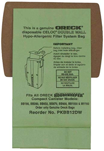 Oreck Genuine XL Buster B Canister Vacuum Bags PKBB12DW Housekeeper Bag 6 Pack