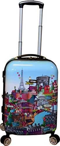 """Kemyer 788 Vintage Series 20"""" Lightweight Expandable Spinner Luggage (Paris Cafe)"""