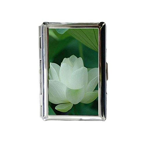Witte Lotus Custom Gegraveerde metalen sigarettenhouder Case sigarettenkoffer of portemonnee.