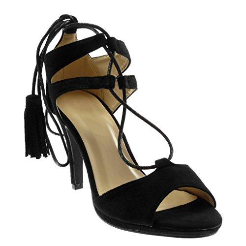 Angkorly - Damen Schuhe Sandalen Pumpe - Stiletto - Römersandalen - Bommel - Fransen Stiletto high Heel 9.5 cm - Schwarz 818-3 T 39