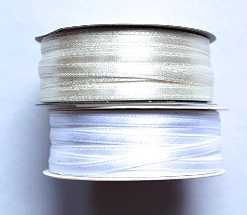 CaPiSo 100m Satinband 3mm Schleifenband,Geschenkband,Dekoband,Satin Hochzeit,Weihnachten (Weiss-Creme, 100m 3mm)