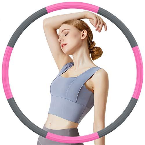 DUTISON Hula Hoop Reifen Erwachsene, Edelstahl-Innenkernrohr und Dicker Premium Schaumstoff, Abnehmbarer Fitness Hula Hoop Für Gewichtsabnahme/Bauchformung (8 Segment, 1,2 kg)