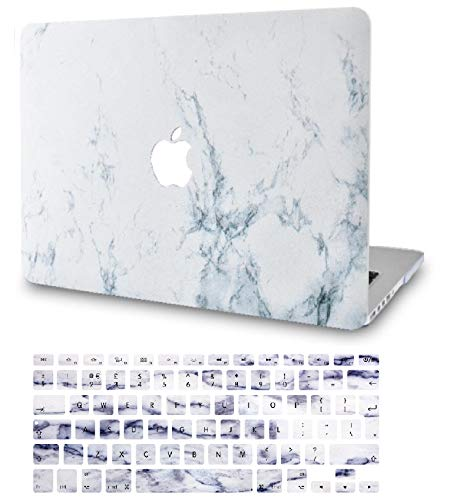 KECC Laptop Case for MacBook Pro 13' (2020/2019/2018/2017/2016) w/Keyboard Cover Plastic Hard Shell A2159/A1989/A1706/A1708 Touch Bar 2 in 1 Bundle (White Marble)