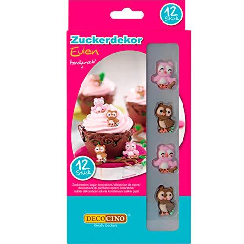 DECOCINO Cake Decor, Eulen Zuckerdekor – 12 Stück – essbares Dekor, ideal zum Verzieren von Cupcakes, Kuchen und Torten – ohne Palmöl, Glutenfrei und Halal