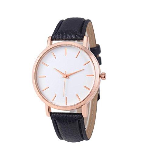 Bovake Mode Uhren Leder Edelstahl Männer Frauen Stahl Analog Quartz Armbanduhr (Schwarz)