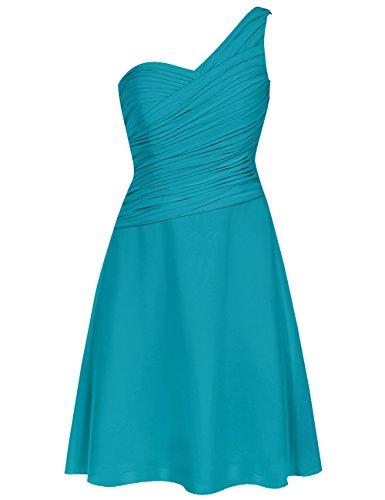 HUINI Pliegues Un Hombro Corto Dama de Honor Trajes de Gala Boda Fiesta Formal Vestidos Tama?o 42