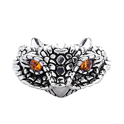 EzzySo Anillo de Piedras Preciosas de Cobra, Estadounidense Personalidad Retro Dominio de la joyería de Anillo de Anillo Abierto (2 PCS)
