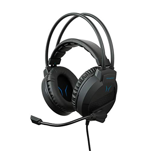 MEDION ERAZER X83009 2.0 Stereo Gaming Headset, kompatibel mit PC & Konsolen, leistungsstarker Bass, Kabel-Bedienelement, Over Ear-Design, schwarz