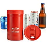 Beer Buddy Insulated Can Holder – Vacuum-Sealed Stainless Steel – Beer Bottle Insulator for Cold Beverages – Thermos Beer Cooler Suited for Any Size Drink - One Size Fits All (Matte RED)