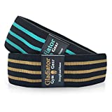 BOOTY GLUTE CLOTH RESISTANCE HIP BANDS - Non Slip - Thick Fabric SQUAT BAND - 2 Pack - for Workout, Exercise, & Fitness. G3 HIP THRUSTER LOOP BANDS are Great Resistant Bands for LEGS and BUTT.
