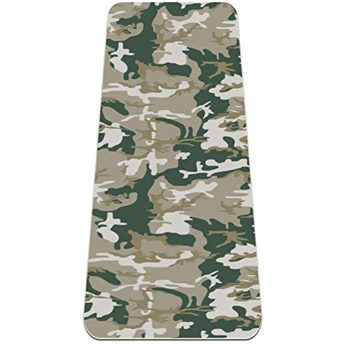 Eslifey Esterilla de yoga con patrón de soldado militar de camuflaje gruesa antideslizante para mujeres y niñas, tapete de ejercicio suave para pilates (72 x 24 pulgadas, 1/4 pulgadas de grosor)