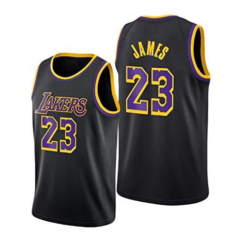 QJL Jerseys de Baloncesto de James Men's, 2020-21 Lakers James # 23 Jersey Ganado - Versión Bordada Negra (S-XXL) M