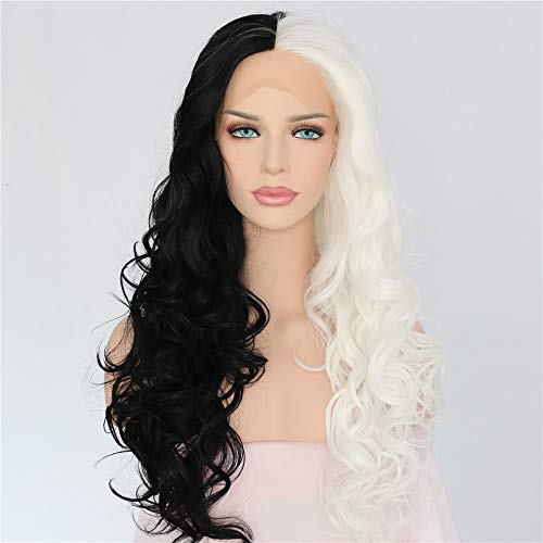 Sapphirewigs Cruella Half Black Half White Color Cosplay Party Blogger Celebrity Makeup Synthetic Lace Front Wigs