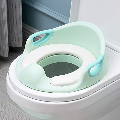 ADOVEL Kinder WC Sitz, Töpfchen Training Sitze für Jungen und Mädchen, passt auf runde und ovalen Toiletten, Baby Potty Training/Toilettensitz / Trainingssitz/Toilettentrainer (Grün)
