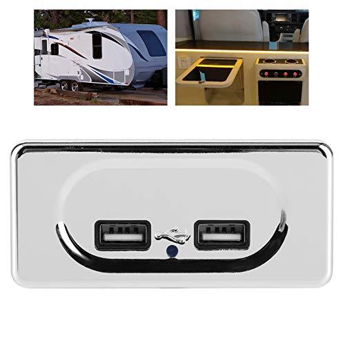 BOLORAMO Cargador USB Doble con LED, Duradero Cargador USB Duradero Compacto Pequeño Económico con 2 Puertos de Alta Velocidad para tabletas para caravanas