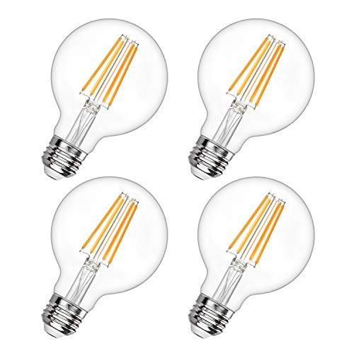 G25 Led Edison Bulb Dimmable LED Globe Light Bulb 60W Equivalent 2700K Soft White 600LM 6W Led Filament Bulb E26 Standard Base Decorative Vanity Bulbs for Makeup Mirror, Bathroom, 4 Pack, by Boncoo