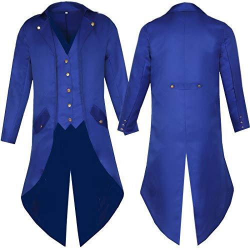 Color SóLido Ropa Larga Punk Retro Esmoquin Uniforme Vestido Abrigo Navidad Halloween XXXL