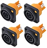 Yongle YLAC3FPX 4-Pack Professional AC LED Screen Lighting and Audio Power-Out Rain-Proof Socket Twist Lock