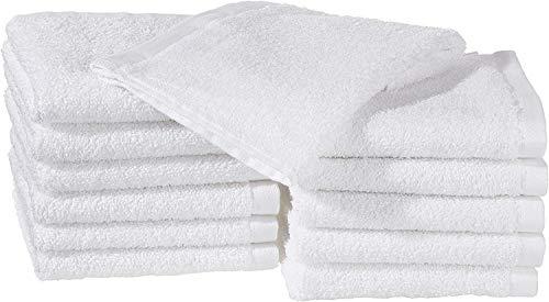 Amazon Basics - Paños de algodón (30,5 x 30,5 cm), pack de 12 - Blanco