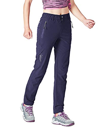Gopune Women's Outdoor Hiking Travel Pants Lightweight Stretch Active Pants (Navy,M)