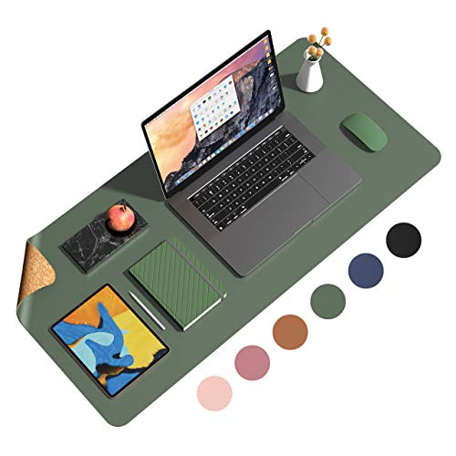 """Eco Cork PU Leather Desk Pad,Dual Side Office Desk Mat,Ultra Thin Large Mouse Pad,Laptop Desk Table Protector,Waterproof Desk Writing Pad for Office Work/Home (Dark Green, 35.4""""x17"""")"""