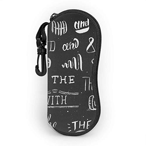 Sonnenbrille Brillenetui Handgemalte Retro-Symbole und Schlagworte Tasche Kratzfest staubsichere Brillenbox mit Gürtelclip für Schlüssel, Bleistifte, Karten