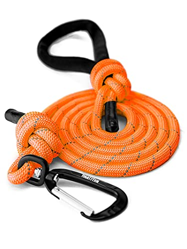 Mighty Paw Rope Dog Leash | Climbing Rope Lead, 6 Foot Long with Reflective Stitching. Strong Climbers Carabiner Clip and Soft Comfort Handle. Durable for Small, Medium and Large Pets (6 Feet, Orange)