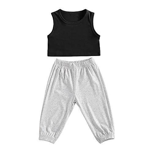 Bmnmsl Toddler Girl Crop Tank Tops and Pants Set Kids Sleeveless Cotton Sportswear Outfit 2Pcs Tracksuit Summer Clothes (Black Grey, 2-3T)