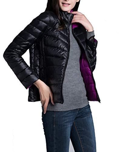 Donna Giacche Piumino Reversibile Cappotto Ultraleggeri Trapuntato Inverno Giacca Nero e Viola XX-Large