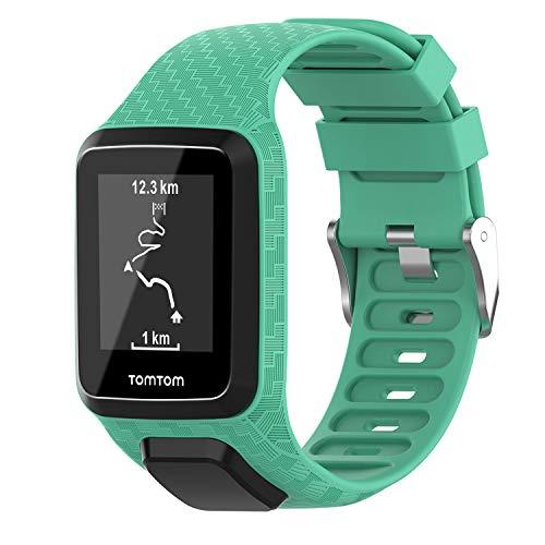 Keweni Correa Compatible con Tomtom 3 Watch, Correa de Repuesto de Silicona de para Tomtom Adventurer Golfer 2 / Runner 2/3 Spark/Spark 3 Sport (Verde Azulado)