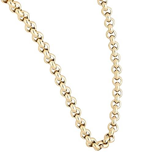 Jollys Jewellers Cadena Belcher para hombre de oro amarillo de 9 quilates, 50,8 cm (5 mm de ancho)