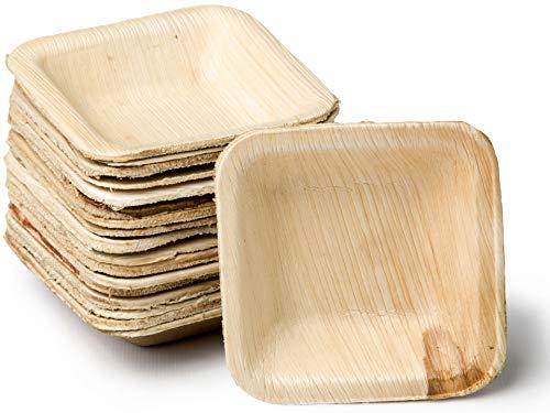 quau | 25 Einwegteller aus Palmblatt | 8cm x 8cm | 50ml | quadratisch | robust & kompostierbar | Palmblattteller
