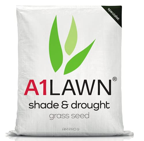A1 Lawn AM Pro 9 Shade & Drought Tolerant Grass Seed, 5kg (140m2) - UK Fresh, Pet & Child Friendly - Ideal for Dry & Wet Soils, Patch Repair, Over Seeding, New Lawns & Thickening. DEFRA Approved