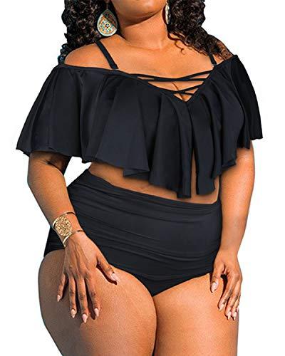 Aqua Eve Women's Plus Size Two Piece Swimsuit Flounce Off Shoulder Bikini High Waisted Bathing Suits Black 16W