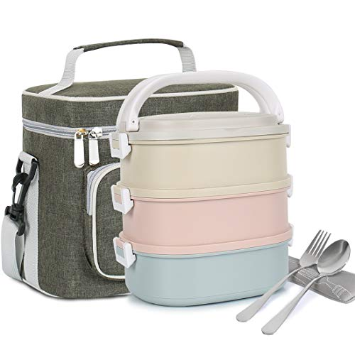 ILOME Lunch Bento Box with Stainless Steel 3-Tier Leak-Proof Stackable...
