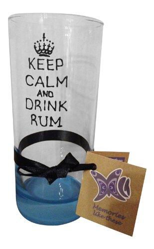 Fantaisie 'Keep Calm and Drink Rhum' Long en verre peint à la main par Memories-like-these Verre à vin Inscription Royaume-Uni