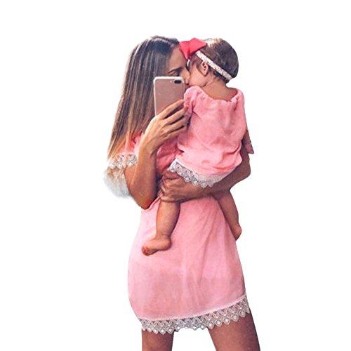 MCYs Mommy & Me Mutte und Tochter Baby Mädchen Langarm Lace Match Tochter Familie Kleid Herbst Blumen Spitze Strandkleid Minikleid (S, Mama Weiß)