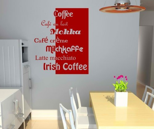 myDruck-Store Adesivo da Parete Tipi di caffè caffè Cucina Wall Sticker Frase Adesivi da Parete 5q644, Nero Lucido, 65 cm
