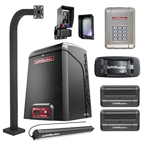 Liftmaster CSL24U / CSL24UL Slide Gate Opener Kit W/Battery Back-Up, 2 Remotes, 828LM Gateway, KPW250 Wireless Keypad & Keypad Pedestal