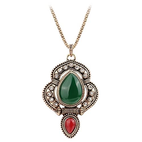 QNONAQ Joyería Vintage Nuevo Collar de Gran Colgante étnico para Mujer Joyería Antigua de Cristal de Cristal de Oro (Length : 50cm, Main Stone Color : Red)