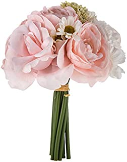Barely Pink & White Ranunculus, Daisy, and Rose Small Bouquet,Bride, Bridesmaid, 8.5 inches tall.